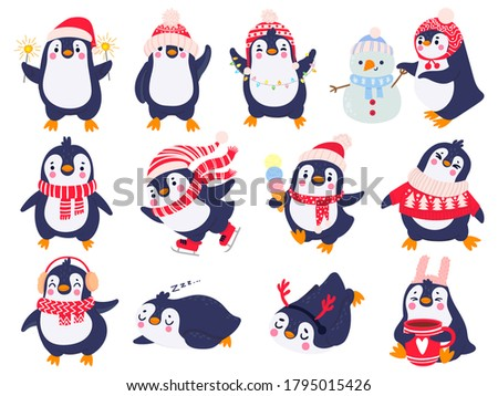 Penguin. Hand drawn cute penguins in winter clothing and hat, merry christmas greetings animals in outerwear, kids cartoon vector set. Penguin animal winter, illustration sketch holiday character