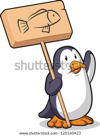Penguin Holding a Wooden Sign