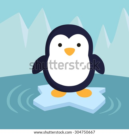 penguin in ice theme background
