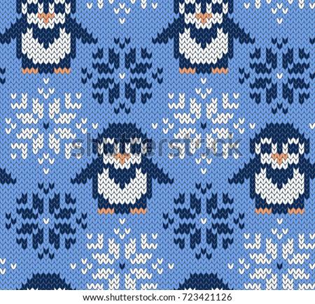 penguin jacquard knitted