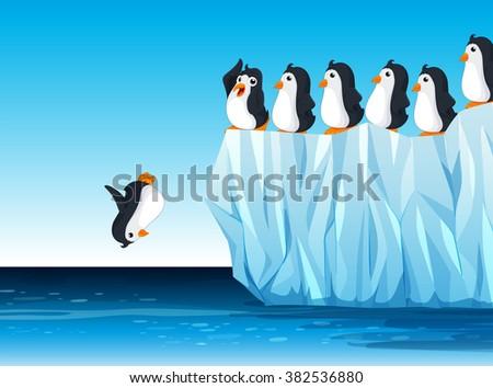 penguin jumping in the ocean