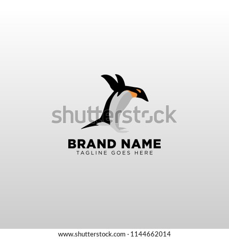 penguin jumping logo template