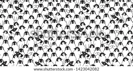 penguin Seamless pattern vector bird cartoon polar bear scarf isolated repeat wallpaper tile background illustration doodle design white