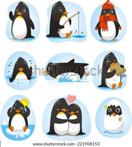 penguin set vector illustration