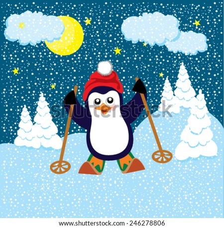 Penguin skiing clip art