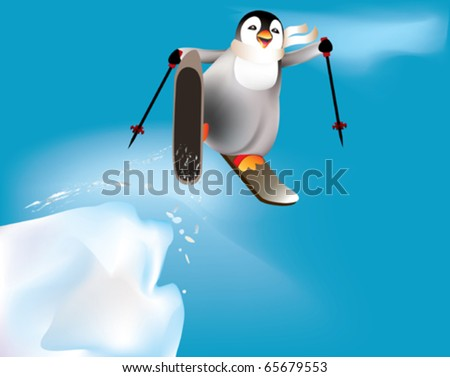 Penguin skiing and having fun.