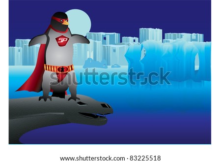 Penguin super hero against a moonlit ice scape background. Standing on a leopard seal gargoyle.