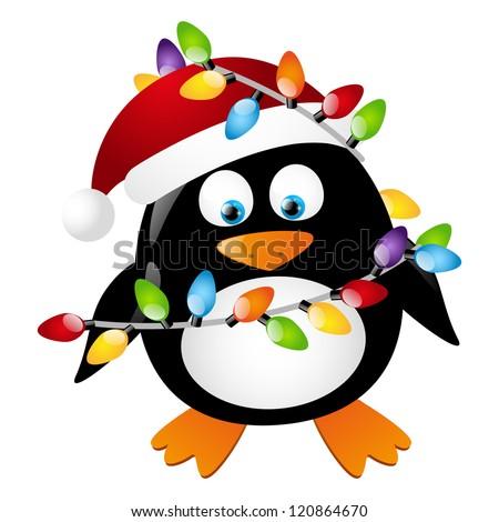 Penguin With Christmas Light Bulbs Stock Vector