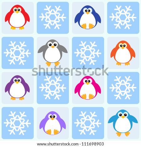 Penguins and snowflakes. Seamless vector pattern