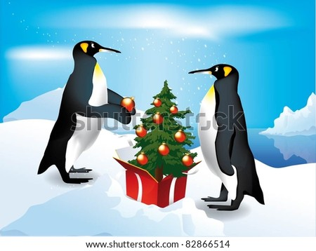 Penguins decorate the Christmas tree