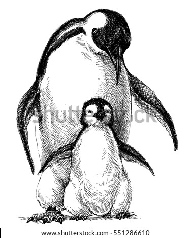 penguins family cute baby