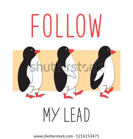 penguins follow each other