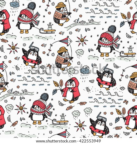 Penguins. Hand drawn doodle Cute penguins Seamless pattern. Four Seasons. Times of year. Weather. Funny penguins at different times of year - vector illustration