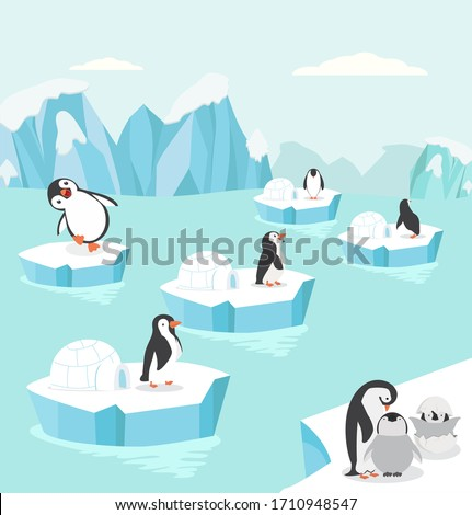 Penguins in North pole Arctic set background