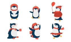 Penguins in scarfs and hats doing casual things vector illustration