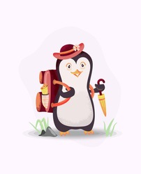 Penguins ready for vacation. Vacation background theme with pinguin, hat, umbrella and bag