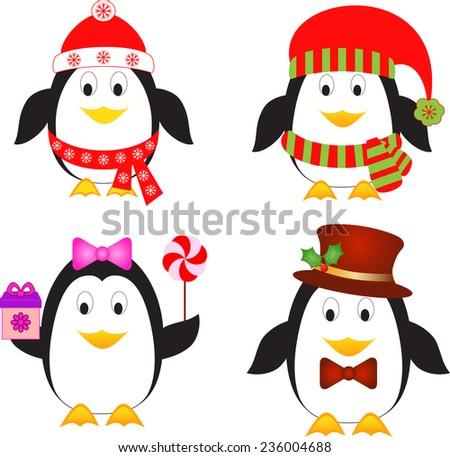 Penguins Vectors, Christmas Penguins, Birds Vectors