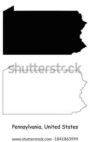 Pennsylvania PA state Maps. Black silhouette and outline isolated on a white background. EPS Vector Foto stock ©