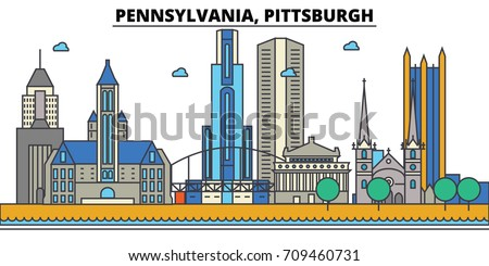 Pennsylvania, Pittsburgh.City skyline: architecture, buildings, streets, silhouette, landscape, panorama, landmarks, icons. Editable strokes. Flat design line vector illustration concept.
