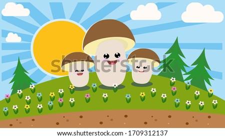 penny bun mushroom cartoon