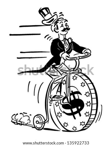 Penny Farthing High Roller - Retro Clip Art Illustration