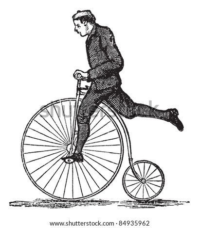 Penny-farthing or High Wheel Bicycle, showing how to dismount the bicycle by stepping on the pedal and then raising the other leg over the rear. Trousset encyclopedia (1886 - 1891).