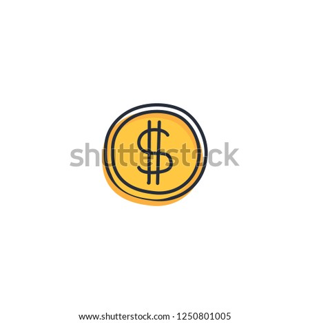 Penny gold coin clip art template. Business and finance concept icon. Vector illustration design eps10