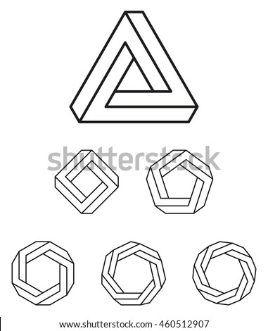 Number Names Worksheets pentagon hexagon heptagon octagon : Penrose Triangle And Polygons Outline. The Penrose Tribar, An ...