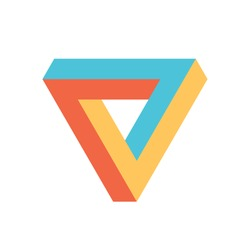 Penrose triangle icon in three colors. Geometric 3D object optical illusion. Vector illustration.