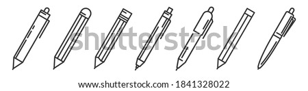 Pens and pencils isolated. Writing tools icons set. Vector illustration. Linear templates of ballpens and pencils