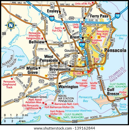 editable map of usa with Stock Vector Pensacola Florida Area Map on Hawaii State further Us Map With Rivers And Bays in addition Hx Halifax Postcode Map as well Swot Analysis Templates 7 in addition Arkansas State.