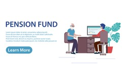 Pension Fund Banner Concept Vector Illustration An elderly retired man at an office reception about retirement savings