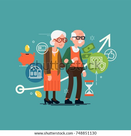 Pension savings and planning concept illustration with elderly couple, financial and accounting icons and symbols such as piggy bank, cash money, coins, savings, time period, etc.
