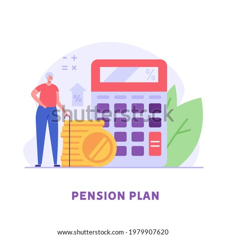 Pensioner standing next to a calculator and coins. Concept of pension savings, insurance pension, funded pension, investments. Vector illustration in flat design
