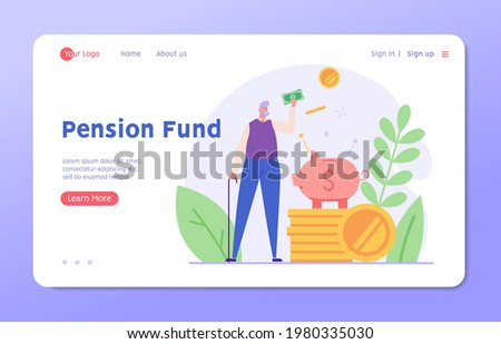 Pensioner standing next to a piggy bank and coins. Concept of pension savings, insurance pension, pension fund, investments. Vector illustration in flat design