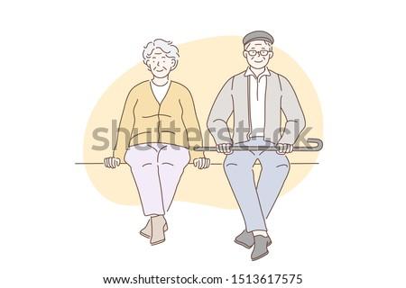 Pensioners, grandparents, older people concept. Older happy men and women enjoy sitting in parks. Elderly couple sit waiting to meet grandchildren. People in love. Simple flat vector.