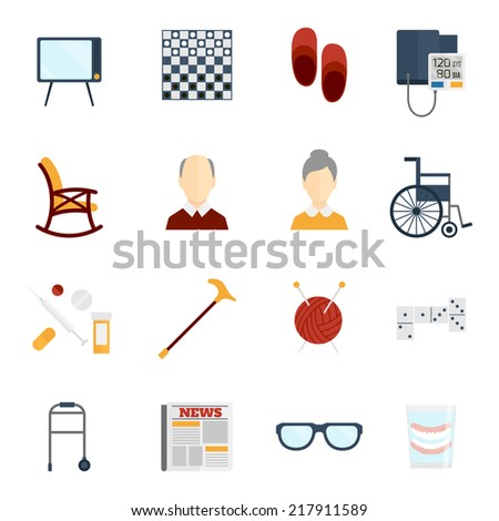 Pensioners life old man care icons flat set isolated vector illustration