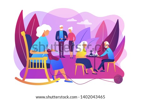 Pensioners pastime at senior home. Aged couple playing chess. Activities for seniors, elderly active lifestyle, older people time spending concept. Bright vibrant violet vector isolated illustration