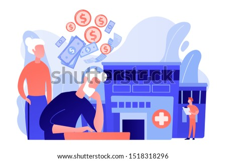 Pensioners social security. Healthcare expenses of retirees, supplemental health insurance plan, the biggest retirement expenses concept. Pink coral blue vector isolated illustration
