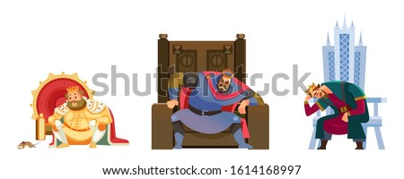 Pensive and worried kings sitting on his throne. Set Cartoon style Failed Business Kings in bankruptcy, failure and collapse. Flat vector illustration on white background ストックフォト ©
