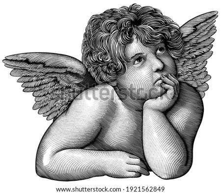 Pensive angel. Art detailed editable illustration. Vector vintage engraving. Isolated on white background. 8 EPS Stock photo ©