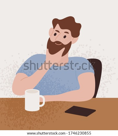 Pensive bearded guy sitting at table with thoughtful face expression vector flat illustration. Male portrait thinking solving problem or dreaming isolated on white. Man think about something Stock foto ©