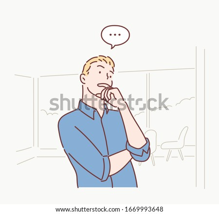 Pensive businessman thinking with hand on chin. Hand drawn style vector design illustrations.