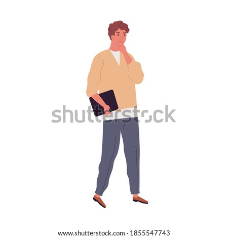 Pensive employee or businessman holding laptop. Young male character carrying papers or tablet. Adult modern man in casual clothes. Flat vector cartoon illustration isolated on white