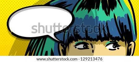 pensive girl comic books style