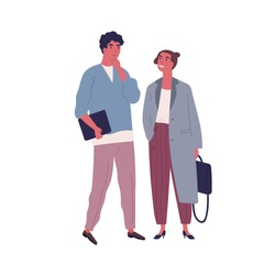 Pensive guy and smiling girl in stylish outfit stand together vector flat illustration. Business people carry briefcase and folder isolated on white. Trendy couple entrepreneurs or office workers