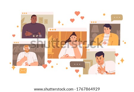 Pensive single woman looking man at virtual dating vector flat illustration. Female searching love choosing between different male isolated on white. Concept of online meeting and web communication