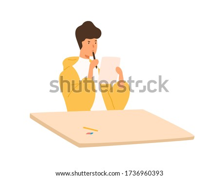 Pensive student guy holding paper sheet and pen sitting at table vector flat illustration. Focused male thinking on test at college or university isolated on white background. Teenager at examine
