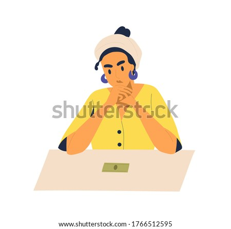 Pensive woman sitting with last cash on table vector flat illustration. Female looking on banknote feeling poorness and lack of money isolated on white. Concept of bankruptcy and financial problem