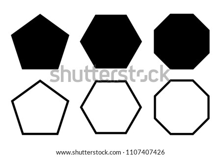 pentagon, hexagon, octagon icon. vector geometry pentagonal, hexagonal, octagonal polygon. five, six, eight sided polygon line.